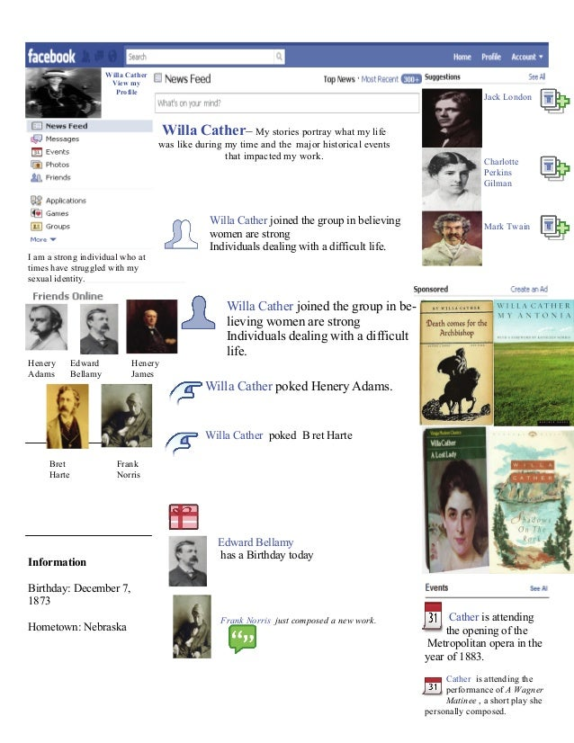 Willa Cather View my Profile Jack London Charlotte Perkins Gilman Mark Twain Cather is attending the opening of the Metrop...