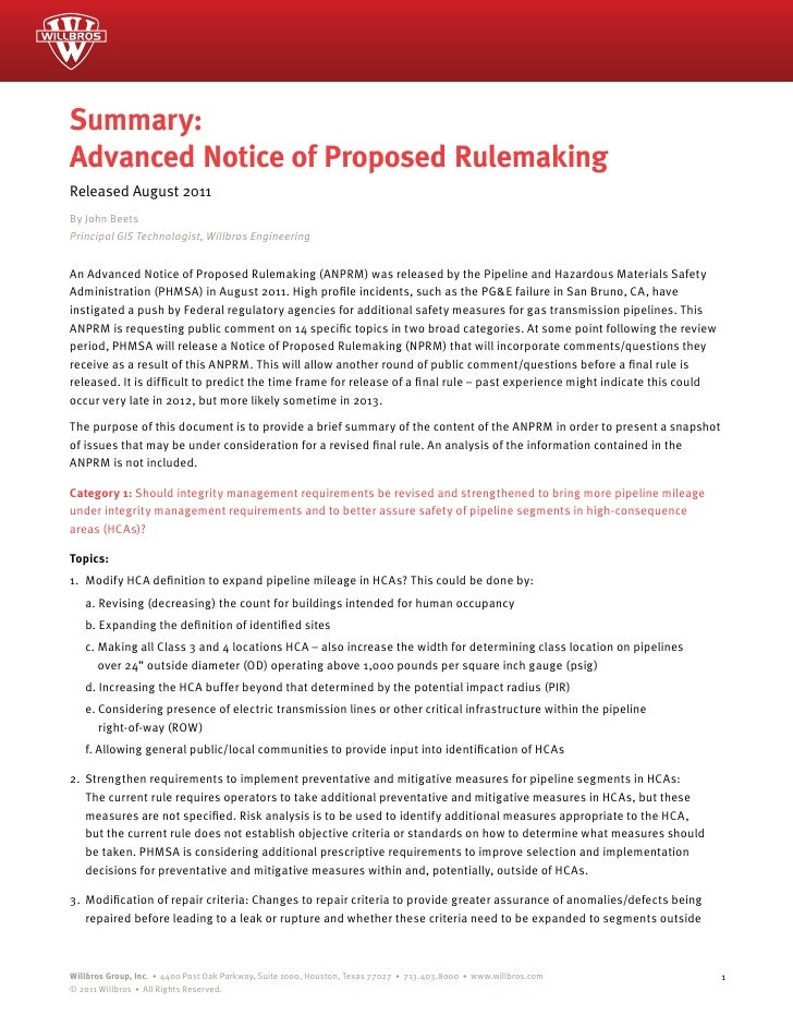 Summary:Advanced Notice of Proposed RulemakingReleased August 2011By John BeetsPrincipal GIS Technologist, Willbros Engine...