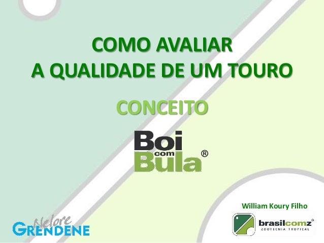 COMO AVALIAR A QUALIDADE DE UM TOURO CONCEITO William Koury Filho