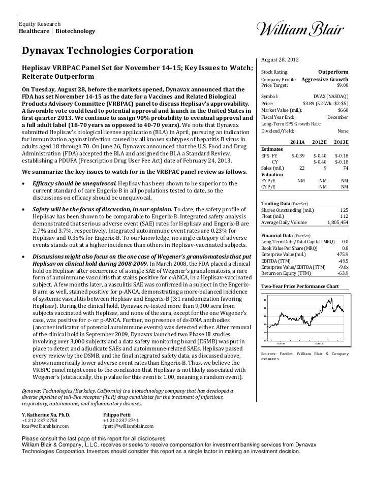 William blair report on dvax