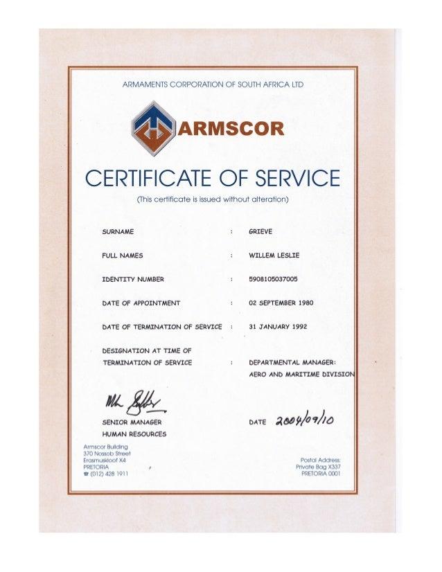 William leslie grieve   bill grieve - armscor certificate of service