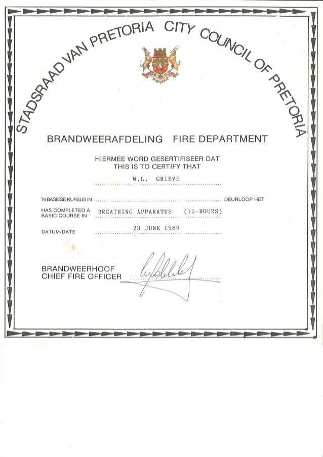 William leslie grieve   bill grieve - city council of pretoria fire department certificate for breathing apparatus course