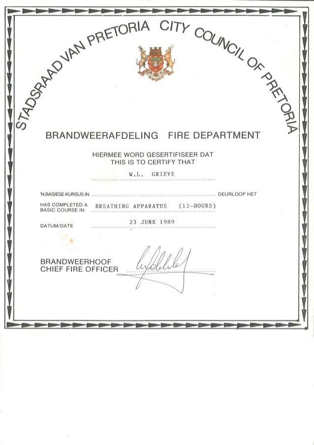 William leslie grieve   bill grieve - city council of pretoria fire department certificate for breathing apparatus course