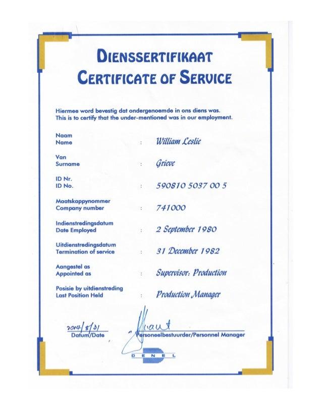 William leslie grieve   bill grieve - denel certificate of service