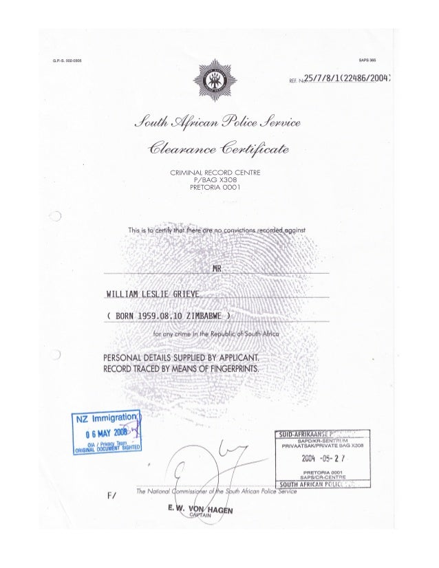 William leslie grieve   bill grieve - full south african police service clearance certificate issued 27 may 2004