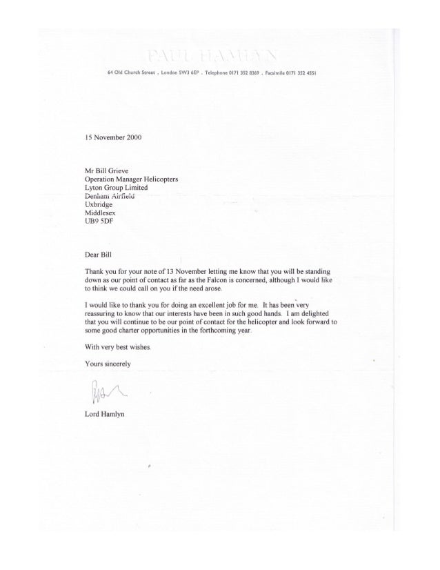 William leslie grieve   bill grieve - letter of reference from lord paul hamlyns estate - barry gillions