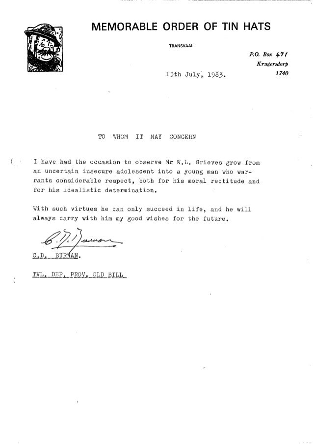 William leslie grieve   bill grieve - letter of reference from mr doug burman old bill member of the moths
