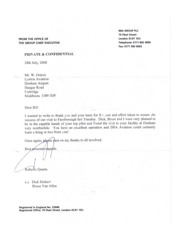 William leslie grieve   bill grieve - personal letter of thanks from roberto quarta group chief executive bba group plc uk