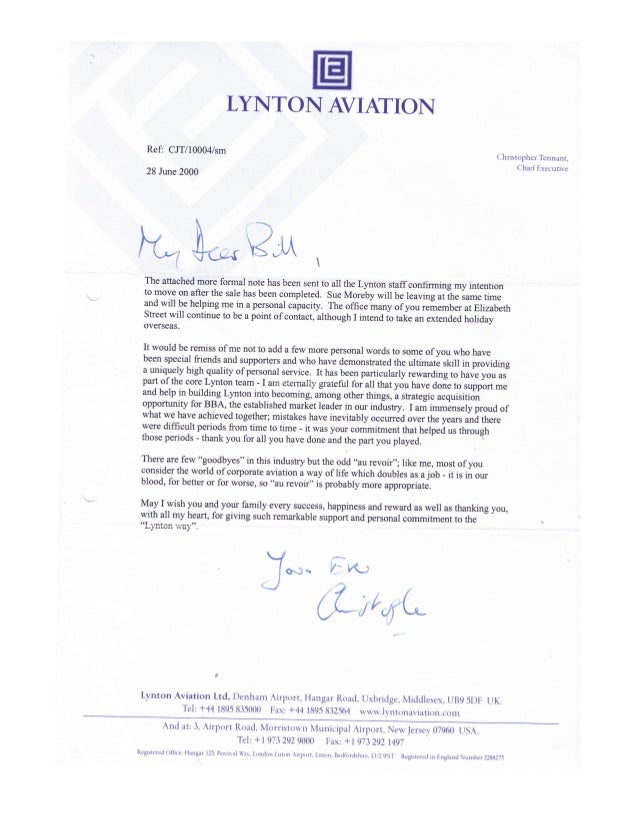 William leslie grieve   bill grieve - personal thanks from christopher tennant ceo lynton aviation