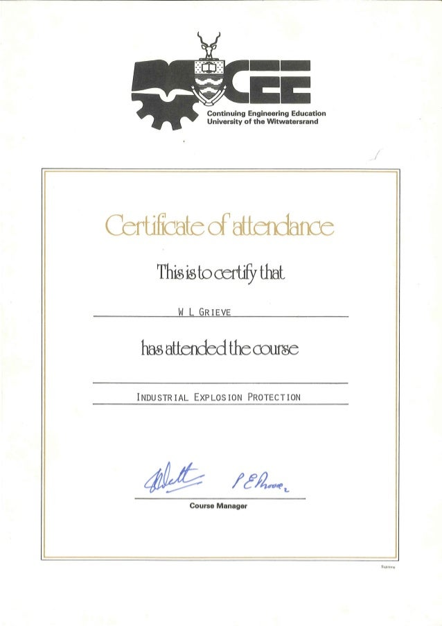 William leslie grieve   bill grieve - university of witwatersrand certificate of course attendance - industrial explosion ...