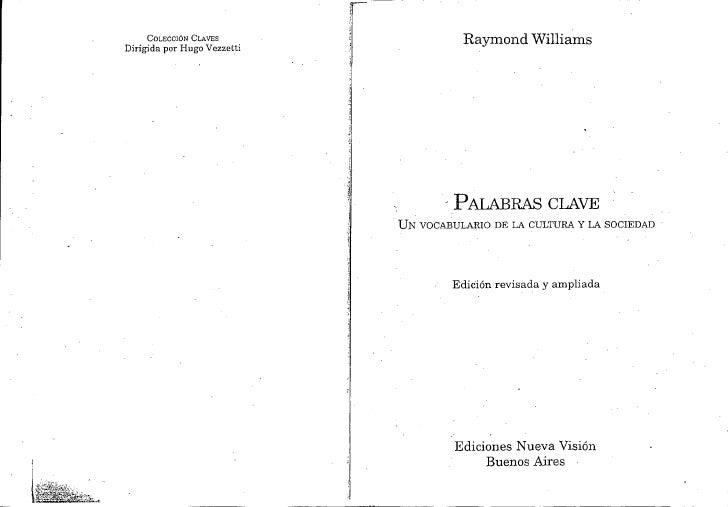 Williams raymond palabras clave un vocabulario de la cultura y la sociedad