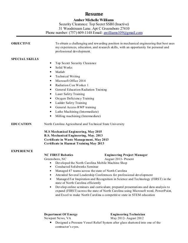 resume with security clearance listed 28 images
