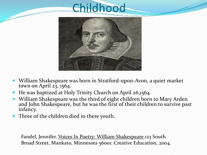 William Shakespeare growing up