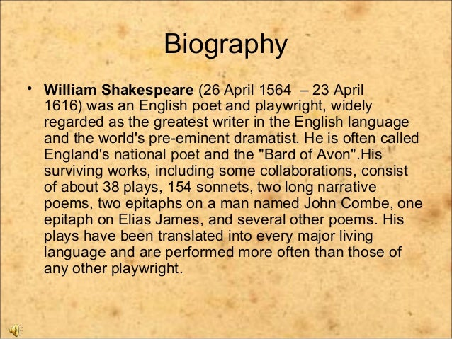 a biography of william shakespeare the greatest poet and playwright