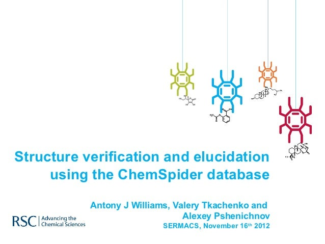 Structure verification and elucidation     using the ChemSpider database           Antony J Williams, Valery Tkachenko and...