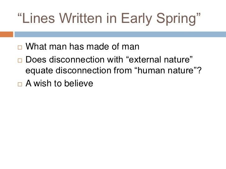 poem line written in early spring essay