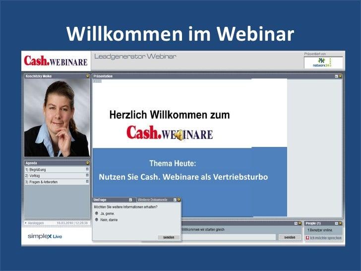 Willkommen im Webinar<br />Nutzen Sie Cash. Webinare als Vertriebsturbo<br />