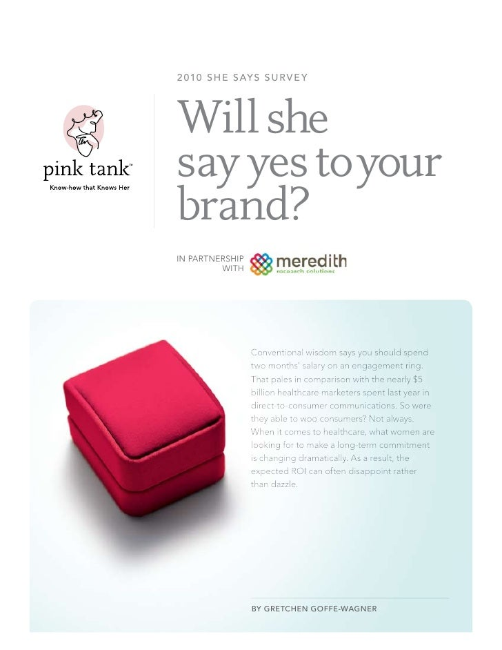 2 010 s h e s ay s s u r v e y                    Will she                say yes to your                brand?           ...