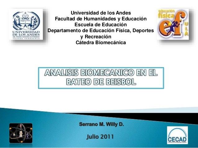 Universidad de los Andes Facultad de Humanidades y Educación Escuela de Educación Departamento de Educación Física, Deport...