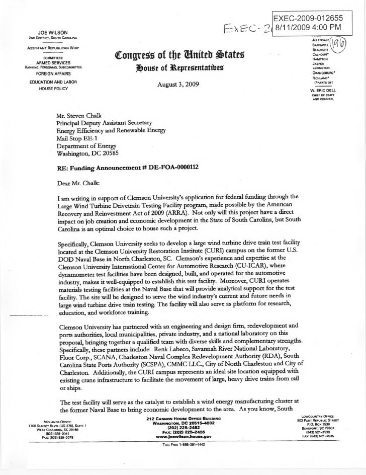Rep. Joe Wilson wind energy request