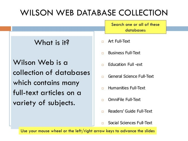 WILSON WEB DATABASE COLLECTION                                                  Search one or all of these                ...