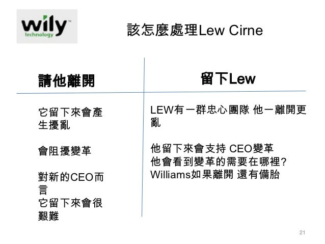 case analysis founder ceo succession at wily technology At this stage of development, half of all founder-ceos have been replaced as   mr cirne became wily's technology strategist but he found the.