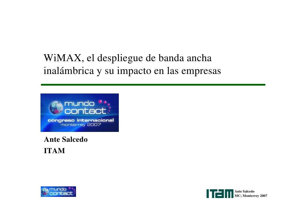 WiMAX, el despliegue de banda ancha inalámbrica y su impacto en las empresas     Ante Salcedo ITAM                        ...