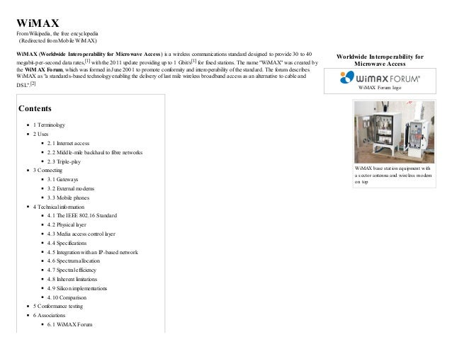 Wi max   wikipedia, the free encyclopedia