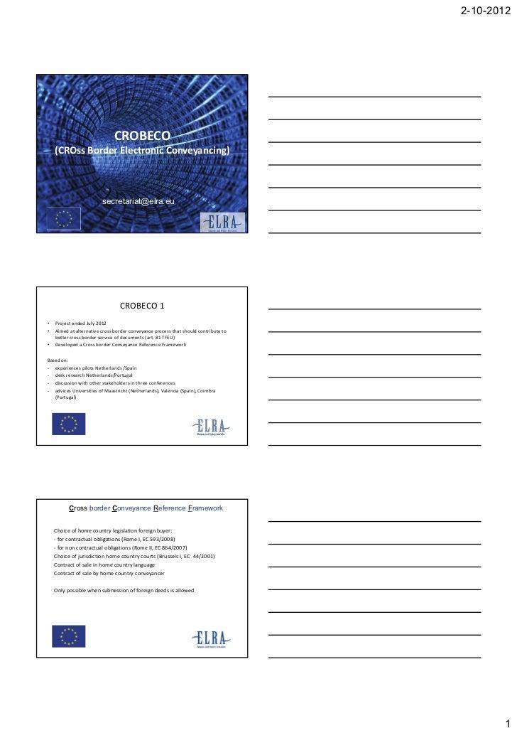 Cross Border Electronic Conveyancing, Wim Louwman, President of the European Land Registries Association