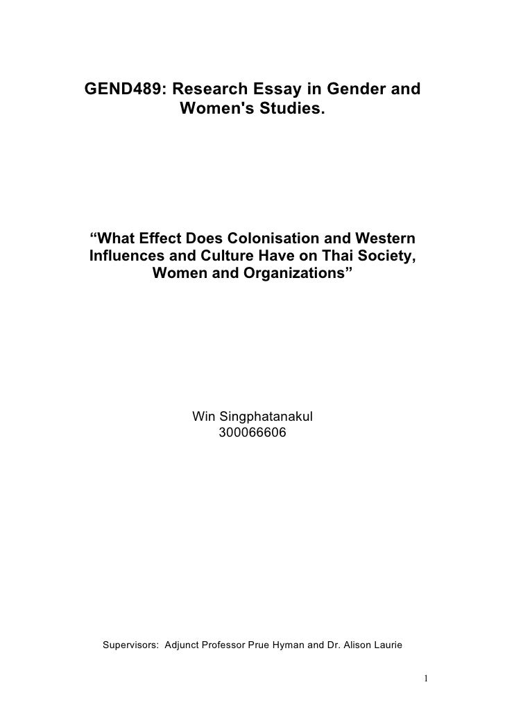 "GEND489: Research Essay in Gender and          Womens Studies.""What Effect Does Colonisation and WesternInfluences and Cul..."