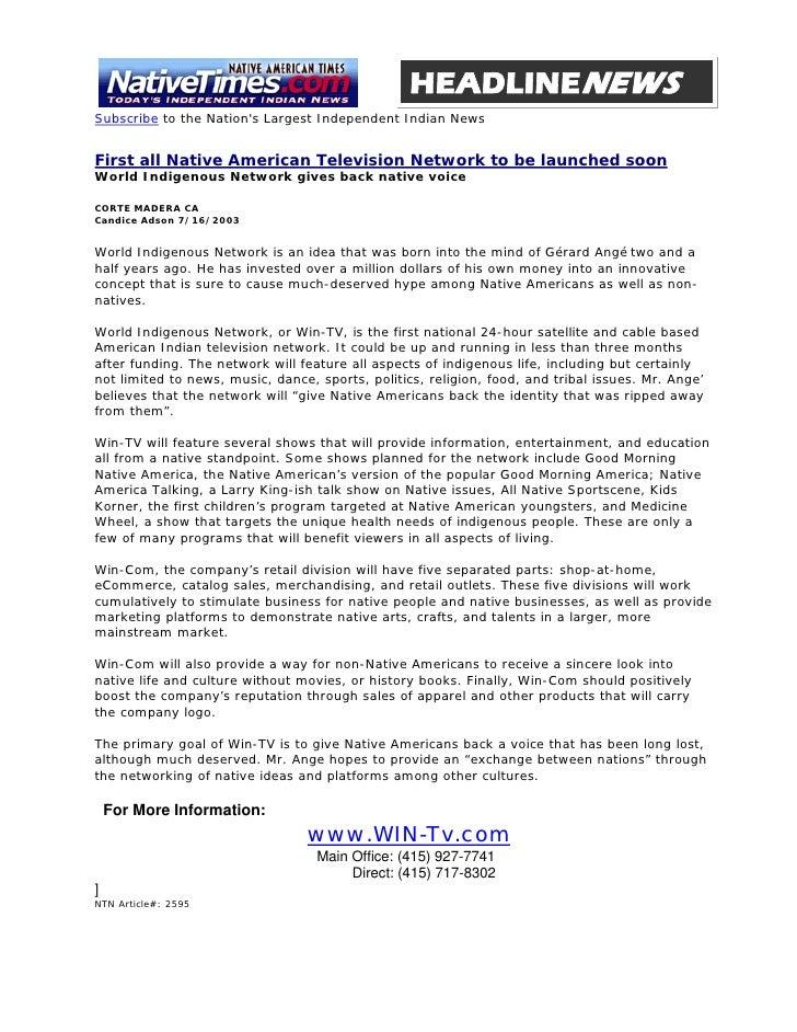 WIN-TV / Native Times Headline News Article 07-16-03