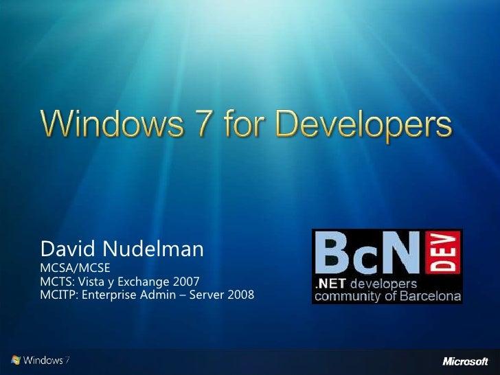 Windows 7 For Developers