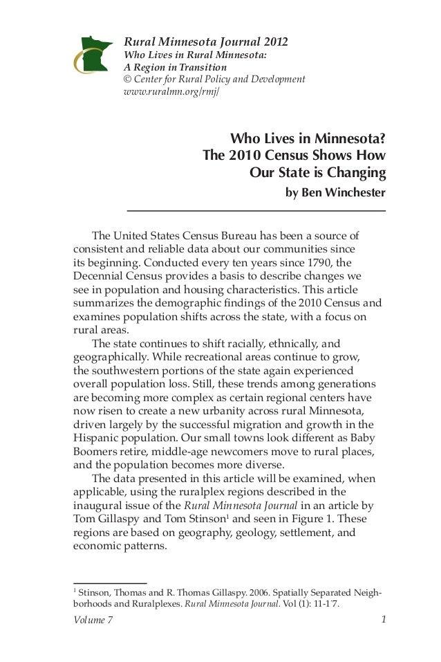 Rural Minnesota Journal: Who Lives in Minnesota?