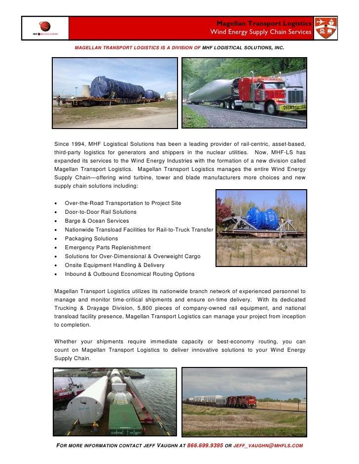 Magellan Transport Logistics                                                             Wind Energy Supply Chain Services...