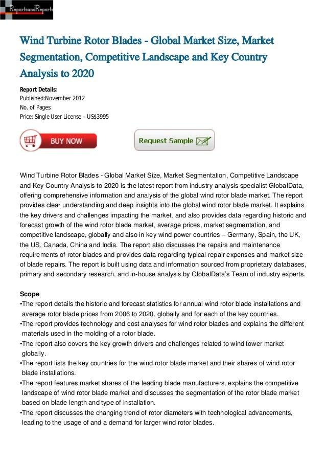 Wind Turbine Rotor Blades - Global Market Size, Market Segmentation, Competitive Landscape and Key Country Analysis to 2020
