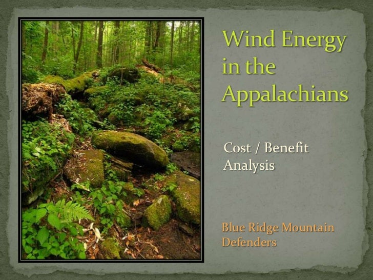 Wind Energyin the Appalachians<br />Cost / Benefit<br />Analysis<br />Blue Ridge Mountain Defenders<br />