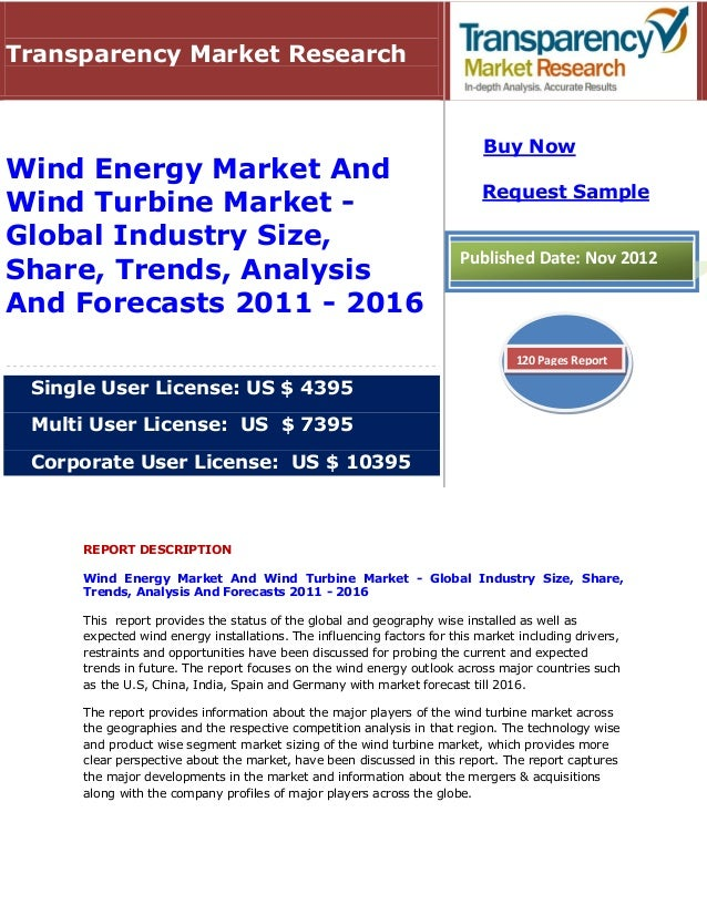 Transparency Market Research                                                                           Buy NowWind Energy ...