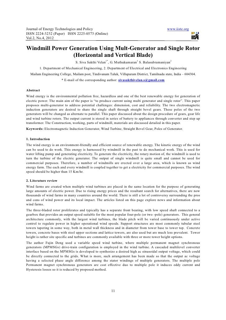 Journal of Energy Technologies and Policy                                                         www.iiste.orgISSN 2224-3...