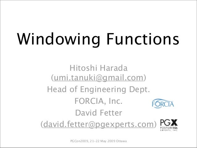 Introducing Windowing Functions (pgCon 2009)