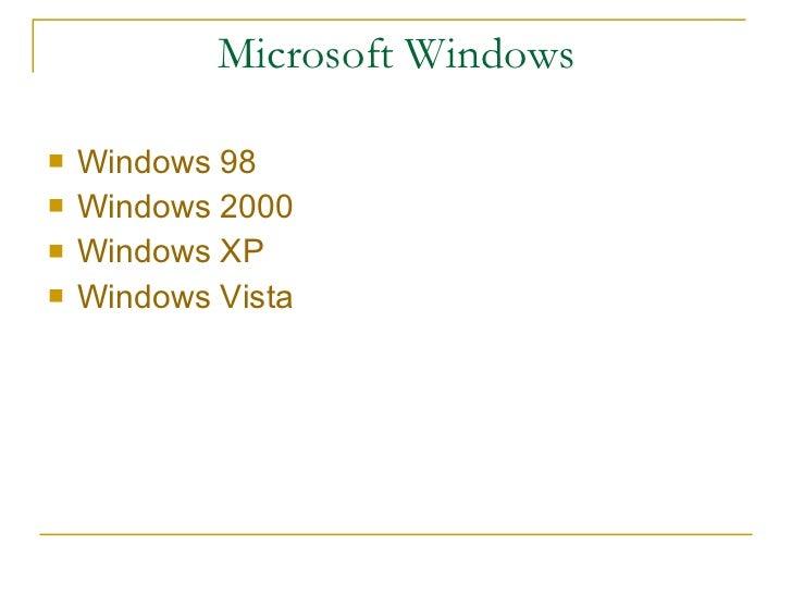 Microsoft Windows <ul><li>Windows 98 </li></ul><ul><li>Windows 2000 </li></ul><ul><li>Windows XP </li></ul><ul><li>Windows...
