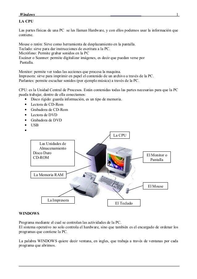 Windows LA CPU Las partes físicas de una PC se les llaman Hardware, y con ellos podemos usar la información que contiene. ...
