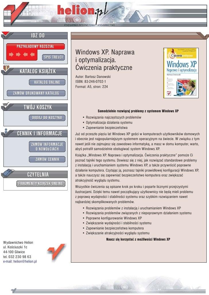IDZ DO          PRZYK£ADOWY ROZDZIA£                                          Windows XP. Naprawa                         ...