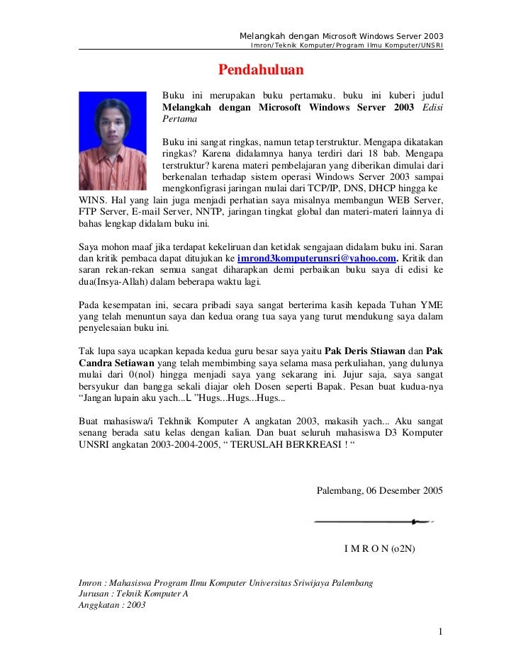 Melangkah dengan Microsoft Windows Server 2003                                         Imron/Teknik Komputer/Program Ilmu ...