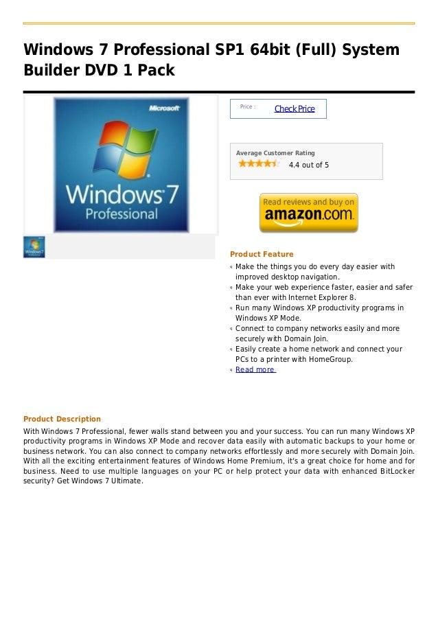 Windows 7 Professional SP1 64bit (Full) SystemBuilder DVD 1 Pack                                                          ...