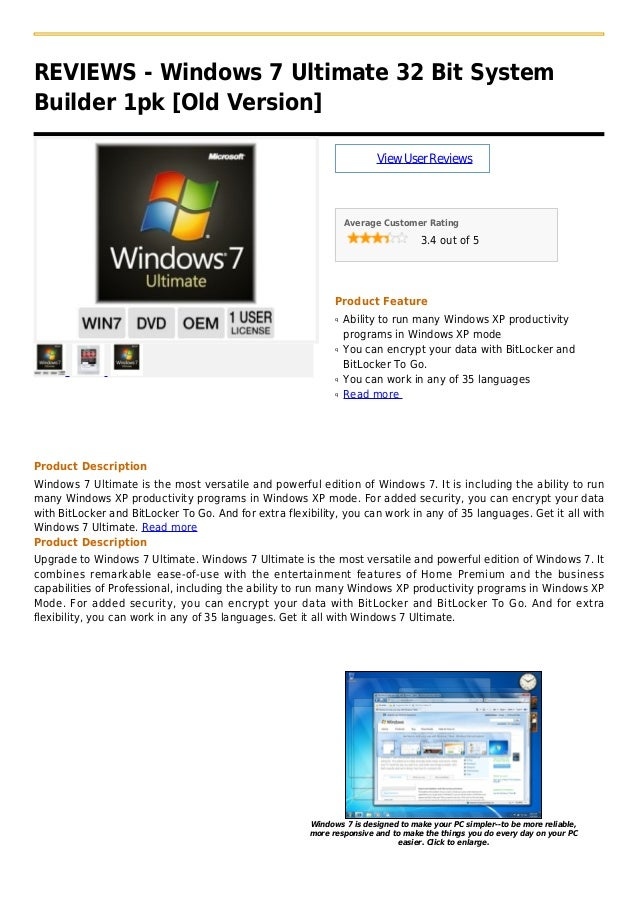 Windows 7 ultimate 32 bit system builder 1pk [old version]
