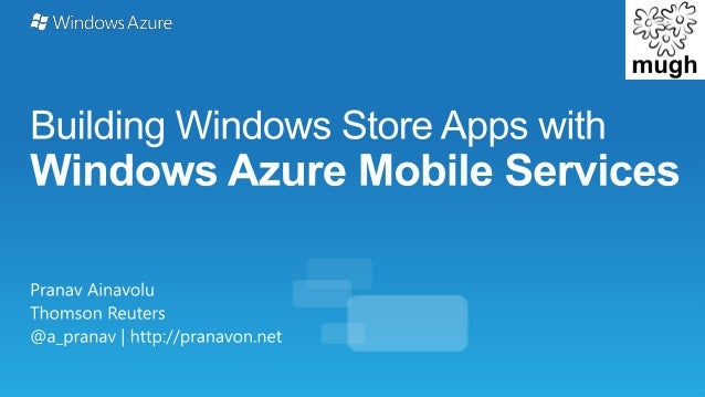 Windows8 and Windows Azure Mobile Services