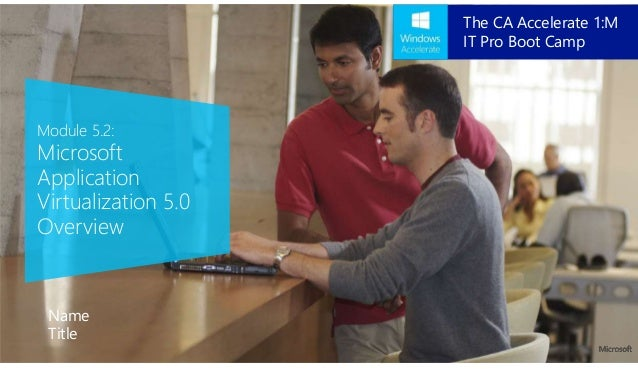 Module 5.2: Microsoft Application Virtualization 5.0 Overview Name Title The CA Accelerate 1:M IT Pro Boot Camp