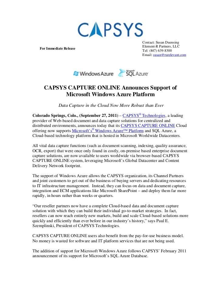CAPSYS CAPTURE ONLINE Announces Support of Microsoft Windows Azure Platform