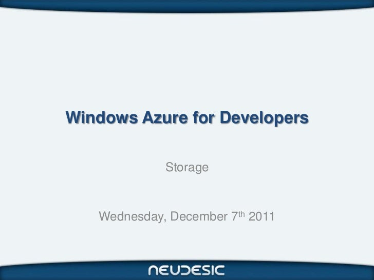 Windows Azure for Developers - Storage