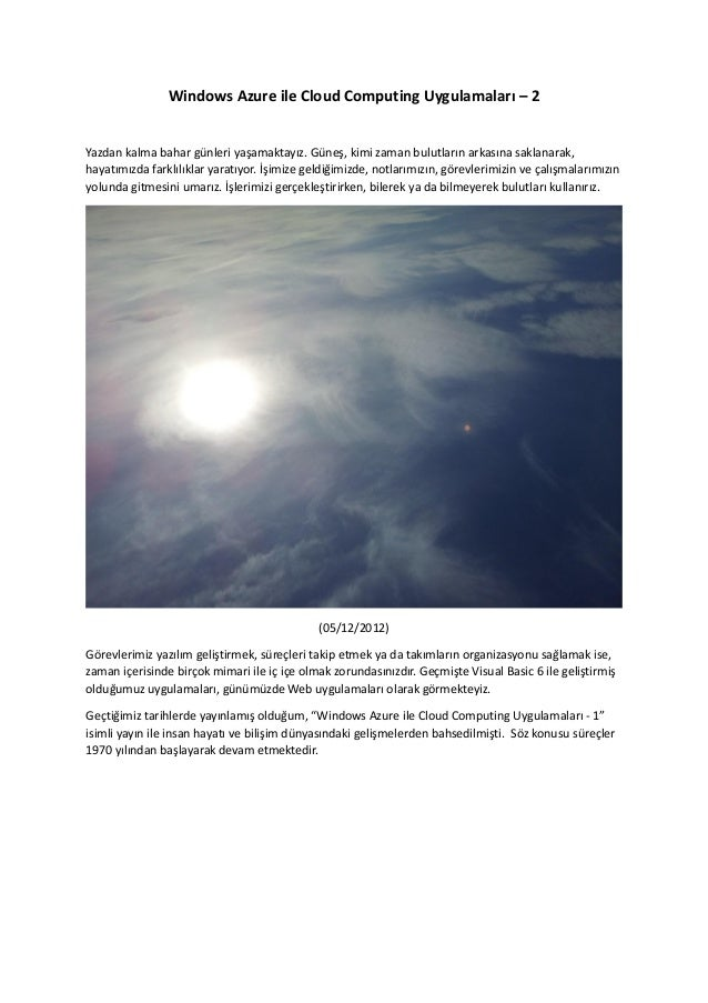 Windows Azure ile Cloud Computing Uygulamaları - 2